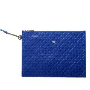 Versace Blue Textured Leather Clutch Handbag